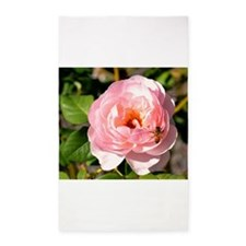 Pale Pink Rose with honey bee Area Rug