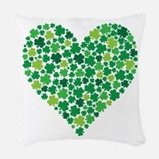 Irish Shamrock Heart - Woven Throw Pillow