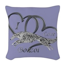 Borzoi Valentine Woven Throw Pillow