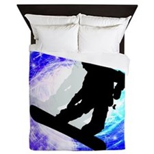 Snowboarder in Whiteout.png Queen Duvet