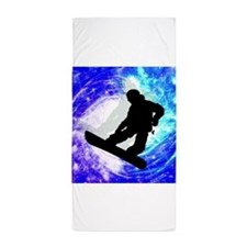 Snowboarder in Whiteout.png Beach Towel