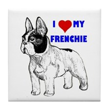 Funny French bull dogs Tile Coaster