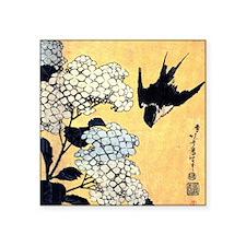 "Hokusai Hydrangea and Swall Square Sticker 3"" x 3"""
