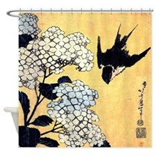 Hokusai Hydrangea and Swallow Shower Curtain