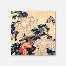 """Hokusai Peonies and Butterf Square Sticker 3"""" x 3"""""""