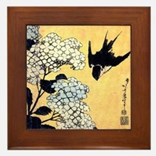 Hokusai Hydrangea and Swallow Framed Tile