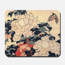 Hokusai Peonies and Butterfly Mousepad