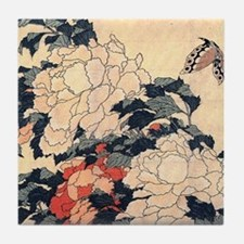 Hokusai Peonies and Butterfly Tile Coaster