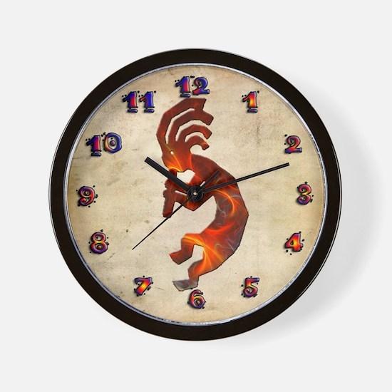 Fire Red Kokopelli Wall Clock