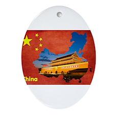 Flag&Map Postcard Ornament (Oval)