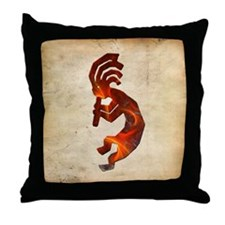 Fire Red Kokopelli Throw Pillow