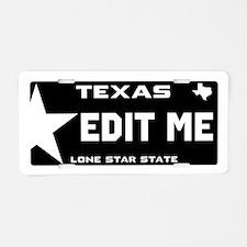 Custom Black Texas Aluminum License Plate
