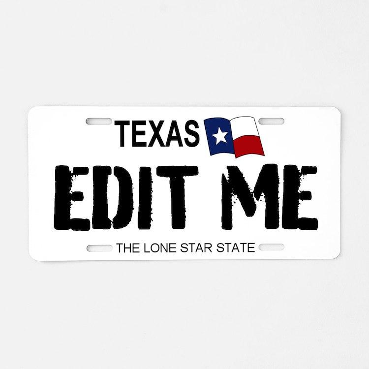 Texas 'white' Replica Aluminum License Pla