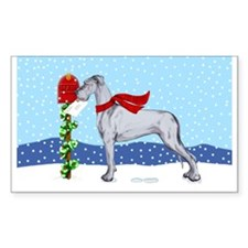Great Dane Blue UC Mail Rectangle Decal