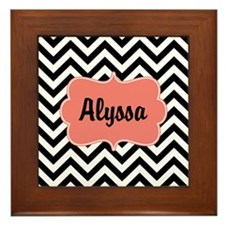 Black Coral Chevron Personalized Framed Tile