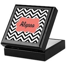 Black Coral Chevron Personalized Keepsake Box