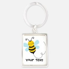 Personalzied Kid's Honey Bee, Black & Yellow Keych