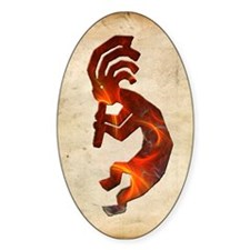 Fire Red Kokopelli Oval Decal