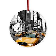 New York Yellow Cab Pro Photo Ornament (Round)
