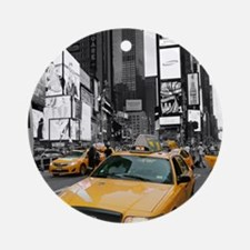 New York Yellow Cab Pro Photo Ornament (Round)