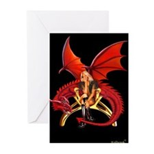 The Girl With the Red Dragon Greeting Cards