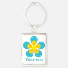 Cute Blue and Yellow Flower, Floral Kid's Keychain