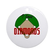I Love Diamonds Round Ornament