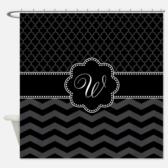 Monogram Black/Gray Chevron Script Shower Curtain