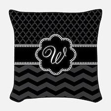 Monogram Black/Gray Chevron Sc Woven Throw Pillow