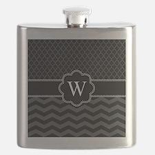 Monogram Black/Gray Chevron Block Flask