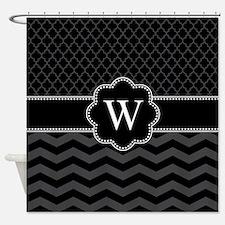 Monogram Black/Gray Chevron Block Shower Curtain