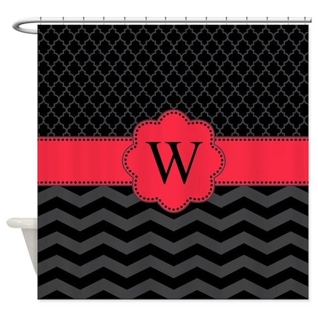 monogram black red chevron block shower curtain by