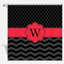 Monogram Black/Red Chevron Block Shower Curtain