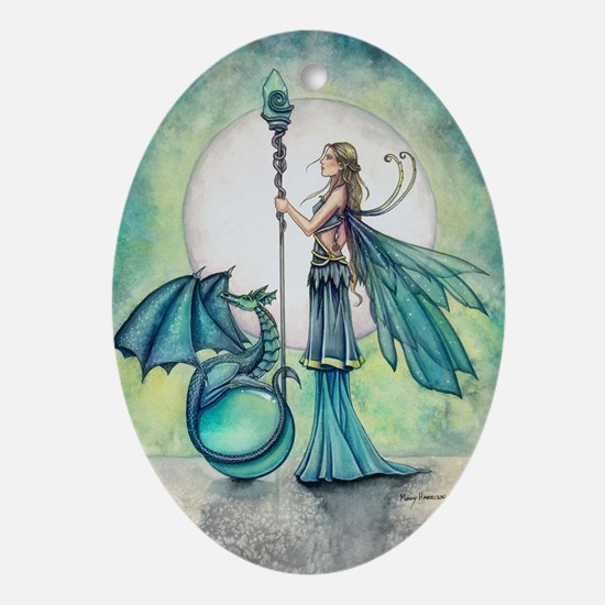 Aquamarine Dragon Fairy Fantasy Art Ornament (Oval