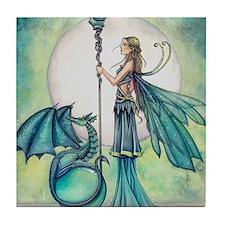 Aquamarine Dragon Fairy Fantasy Art Tile Coaster