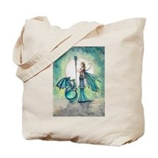 Aquamarine Dragon Fairy Fantasy Art Tote Bag