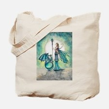 Aquamarine Dragon Fairy Fantasy Art Tote Bag