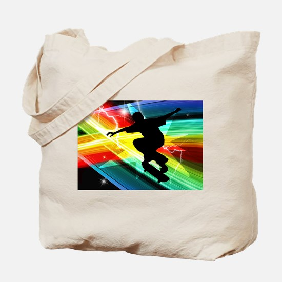Skateboarder in Criss Cross Lightning.png Tote Bag