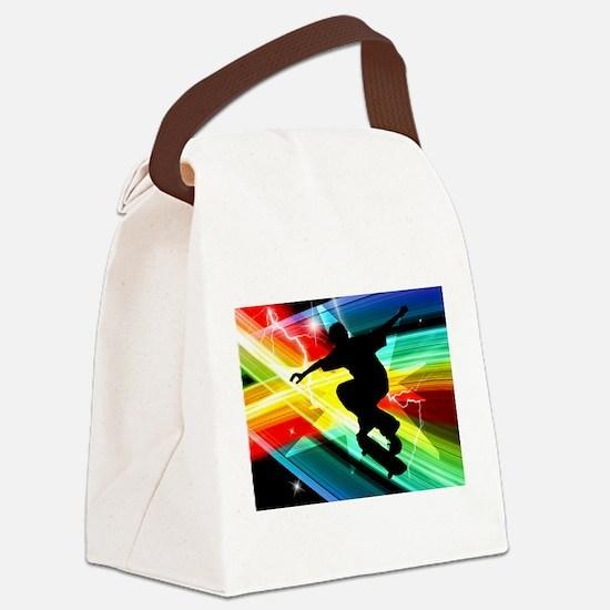 Skateboarder in Criss Cross Light Canvas Lunch Bag