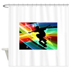 Skateboarder in Criss Cross Lightni Shower Curtain