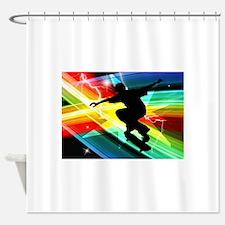 Skateboarder in Criss Cross Lightni Shower Curtain