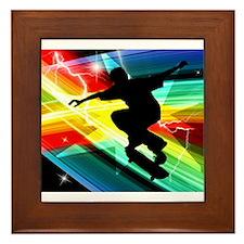 Skateboarder in Criss Cross Lightning. Framed Tile