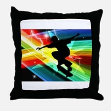 Skateboarder in Criss Cross Lightning Throw Pillow