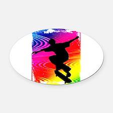 Skateboarding on Rainbow Grunge Ba Oval Car Magnet