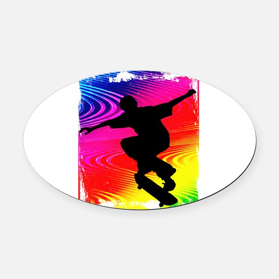 Skateboarding on Rainbow Grunge Ba Oval Car Magnet