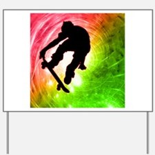 Skateboarder in a Psychedelic Cyclone.pn Yard Sign