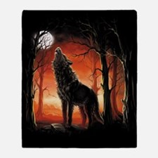 Howling Wolf at Sunset Throw Blanket