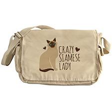 Crazy Siamese CAT lady Messenger Bag