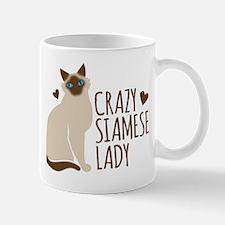 Crazy Siamese CAT lady Mugs