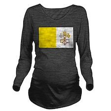 Vatican City Papal Flag Long Sleeve Maternity T-Sh
